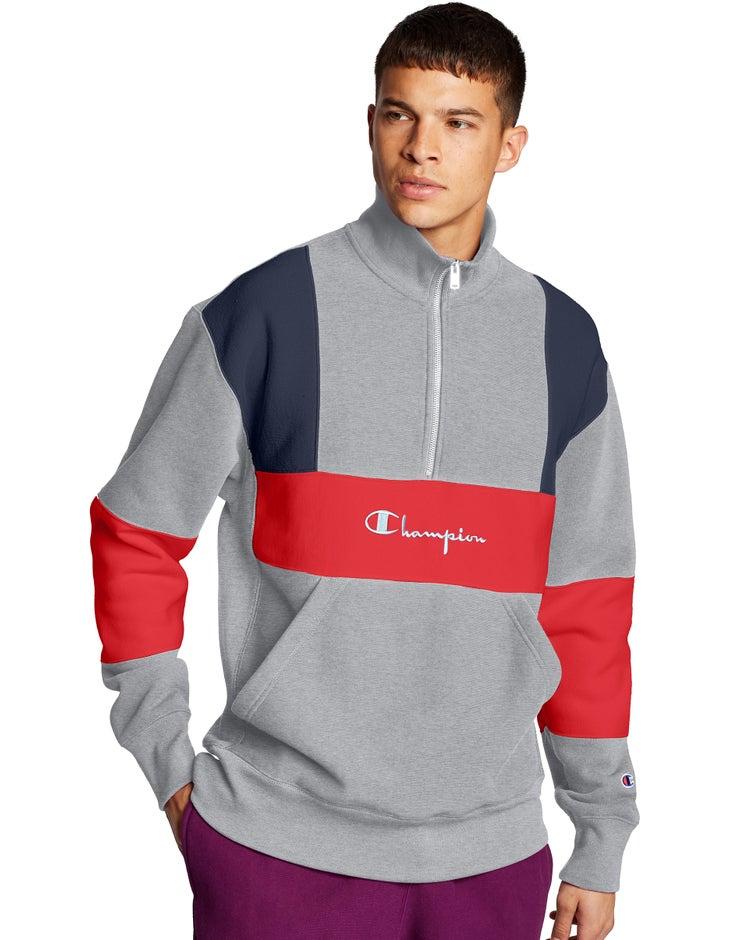 Champion Life® Men's Reverse Weave® Colorblock Half Zip Sweatshirt