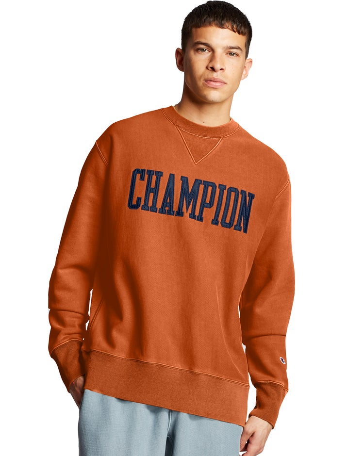 Champion Men's Vintage Wash Reverse Weave Crew w/V-Notch-Champion satin block letter applique