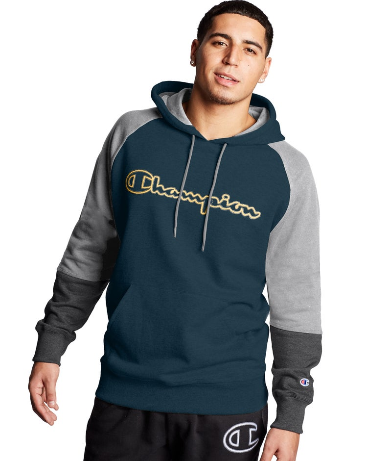 Champion Men's Powerblend® Colorblock Hoodie, Outline Logo