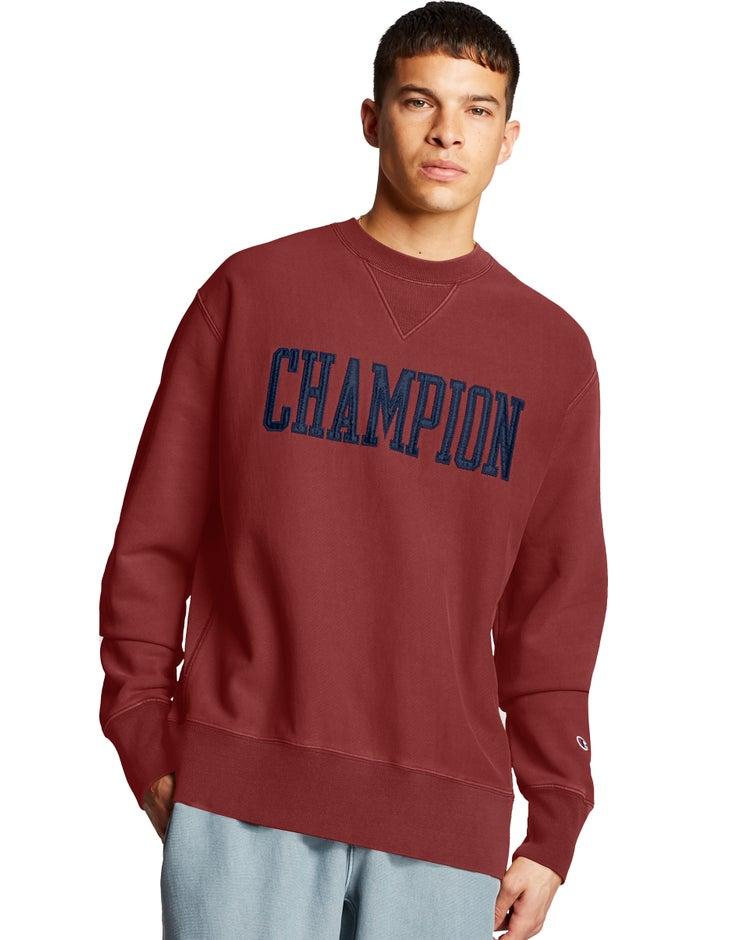 Champion Men's Vintage Wash Reverse Weave Crew w/V-Notch-Champion satin block letter applique