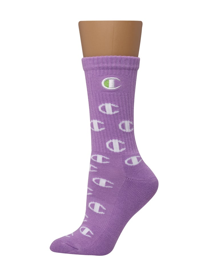 Crew Sock, All-Over Logo, 1-Pair