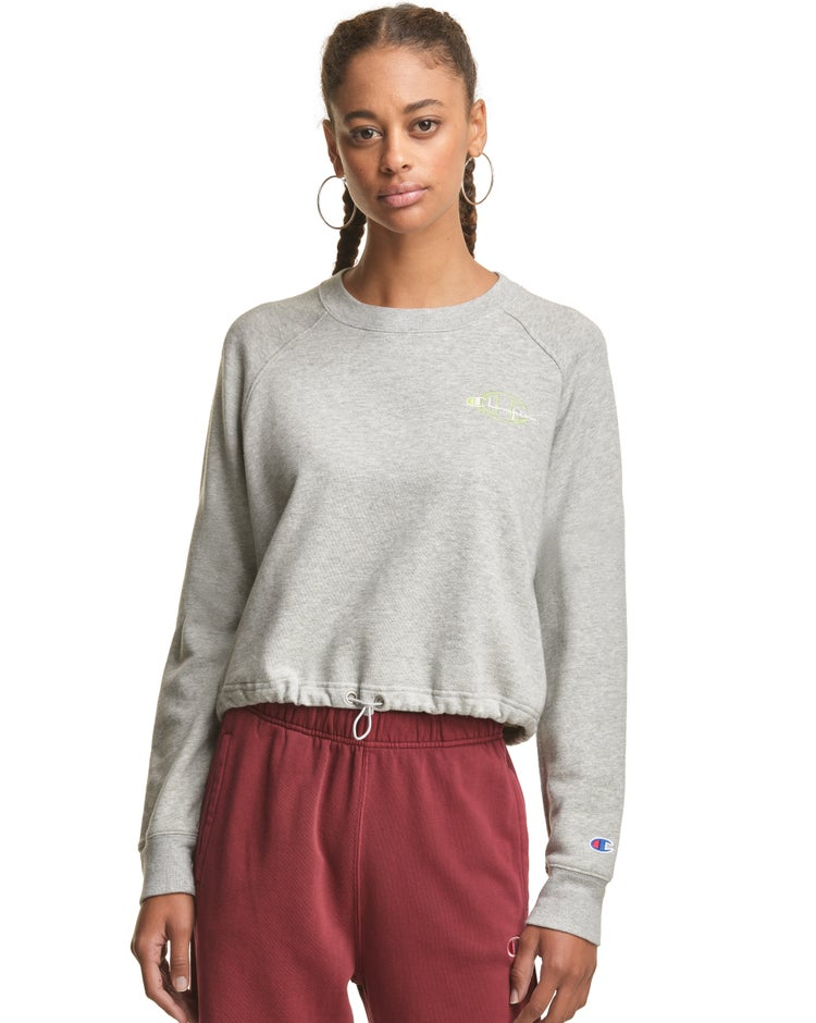 Women's Vintage Dye Heather Bungee Bottom Cropped Crew
