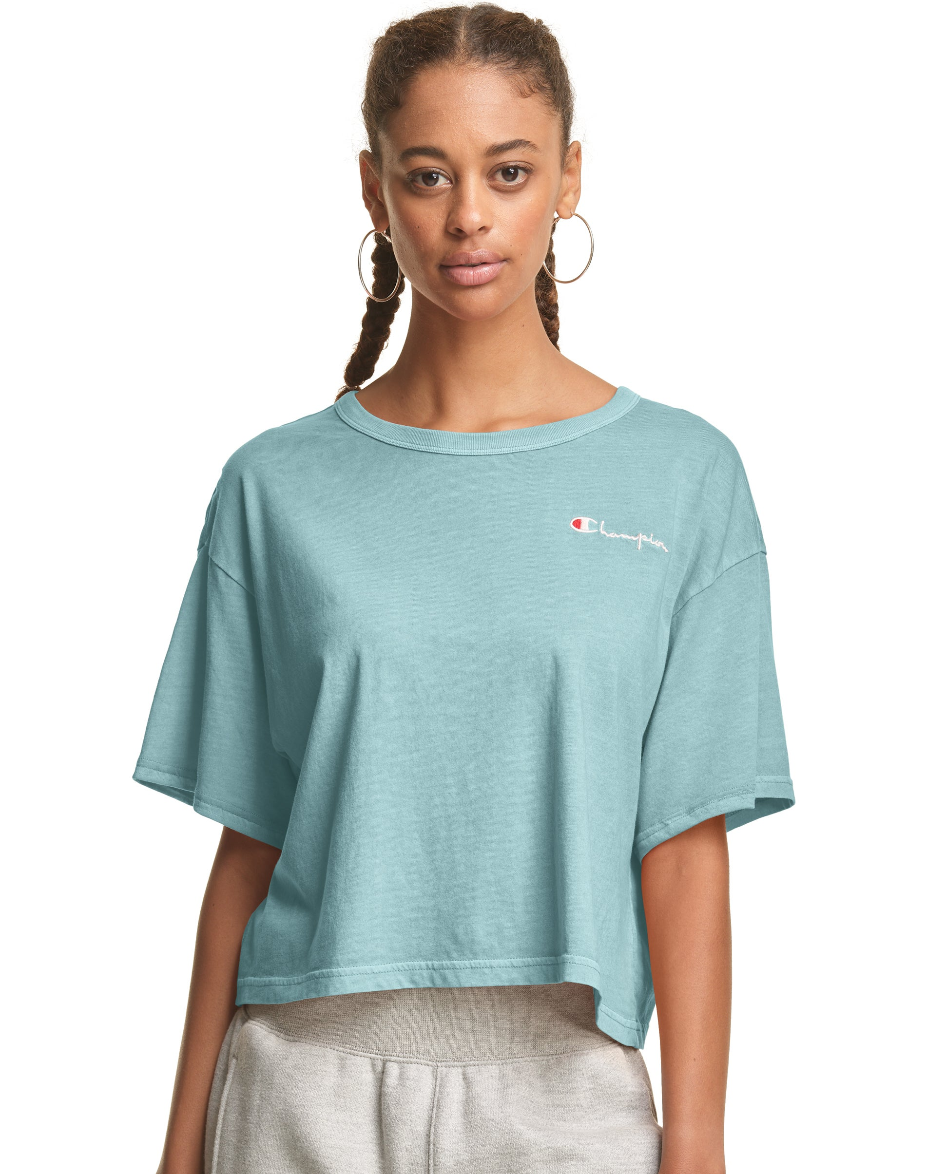 adidas Womens Fave T Shirt Cropped Tee Top Short Sleeve Crew Neck Lightweight