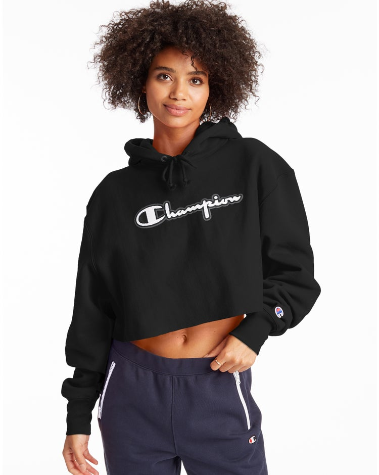 Reverse Weave Cropped Cut Off Hoodie-Men's Fit, Script Logo