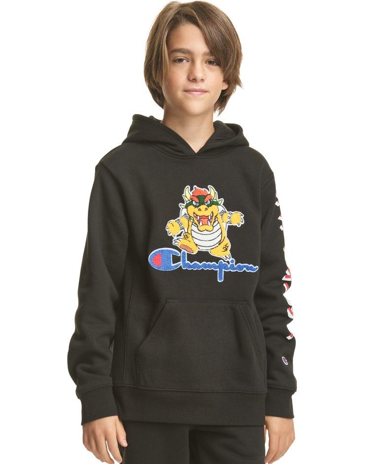 Kids' Reverse Weave Hoodie, Bowser, Script Logo & Kanji