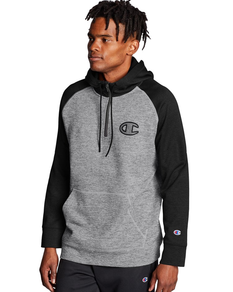 Champion Men's Stadium Fleece Quarter Zip Hoodie, Clear Gloss C Logo