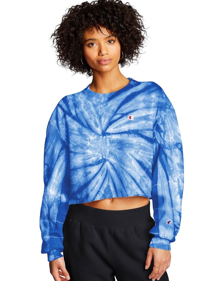 Exclusive Champion Life® Women's Reverse Weave® Cropped Cut-Off Tie Dye Crew