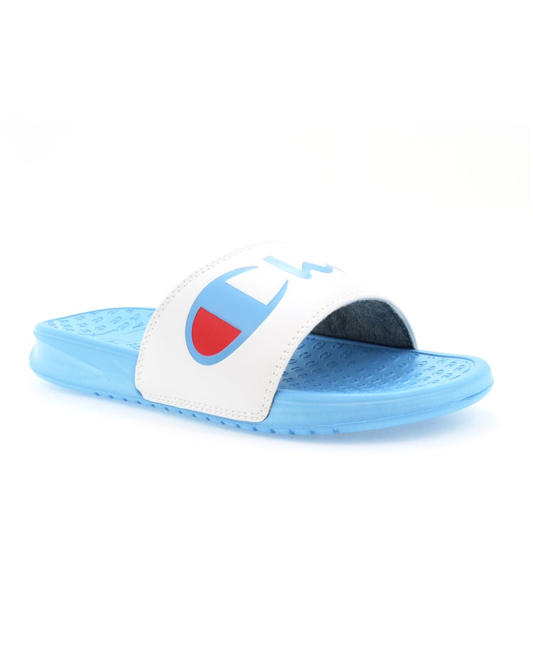 Champion Life™ Women's Super Slides Split Script, White/Active Blue
