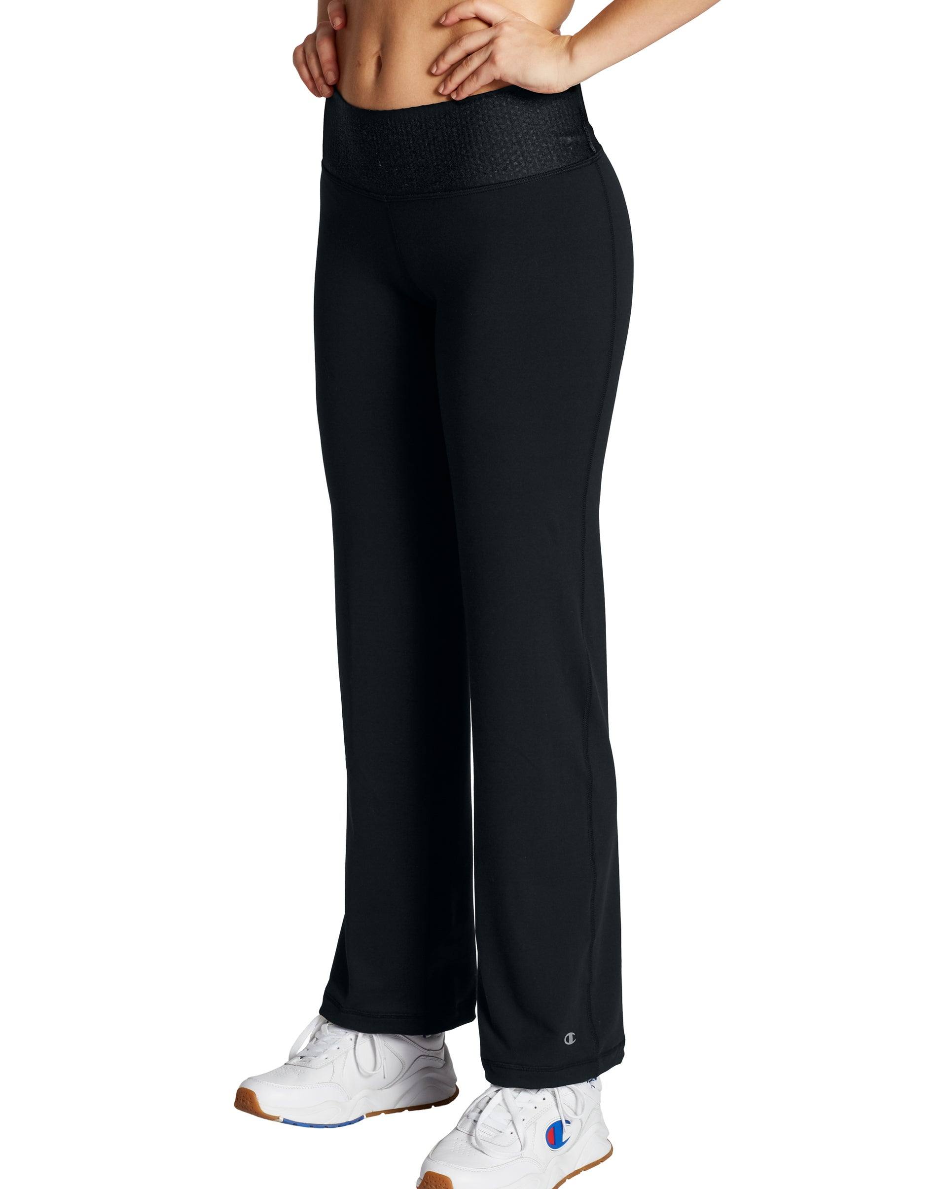 Champion Womens Pants Absolute Semi-Fit Workout SmoothTec Double Dry Open Bottom