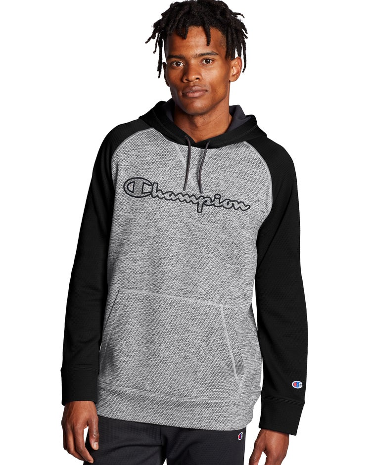 Champion Men's Stadium Fleece Hoodie-Champion clear gloss screenprint