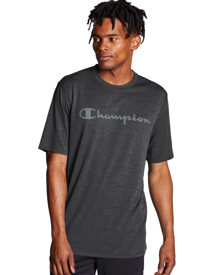 Double Dry Heather Mesh Textured Tee, Script Logo