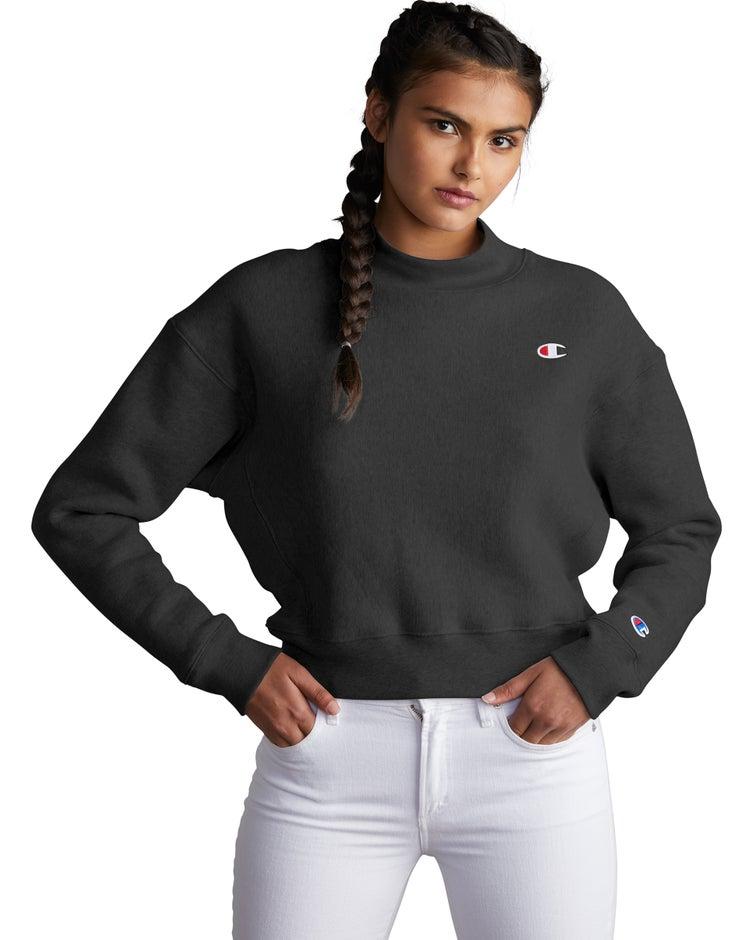 Champion Life® Women's Reverse Weave® Mock Neck Crop Crew
