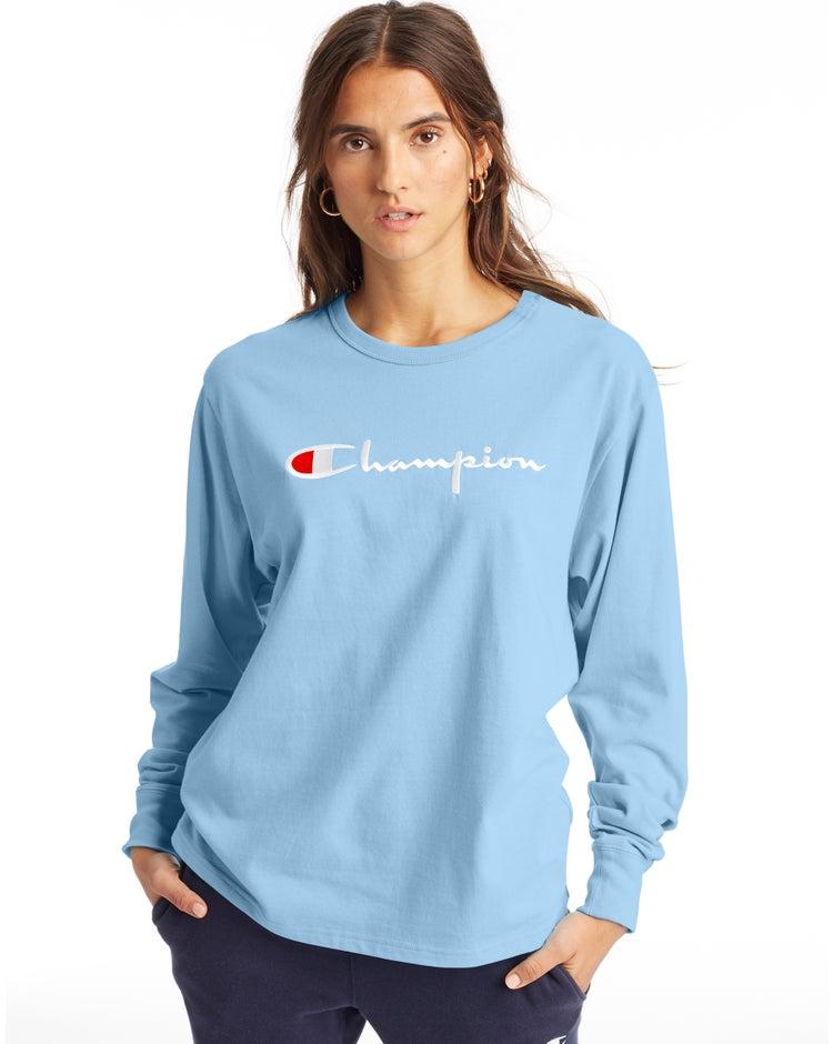 Boyfriend Long-Sleeve Tee, Script Logo